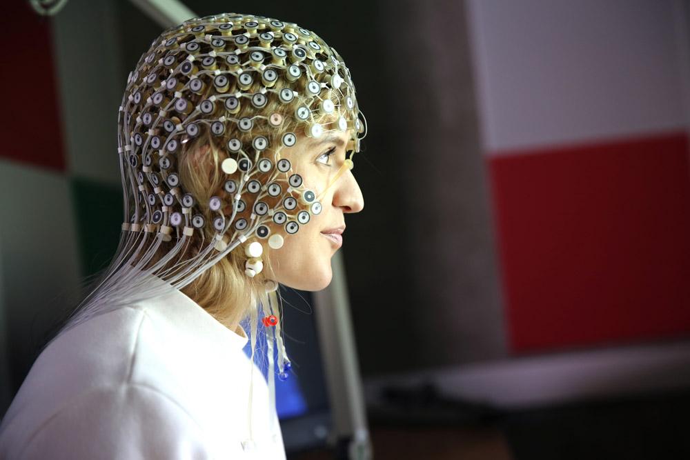 EEG device being worn