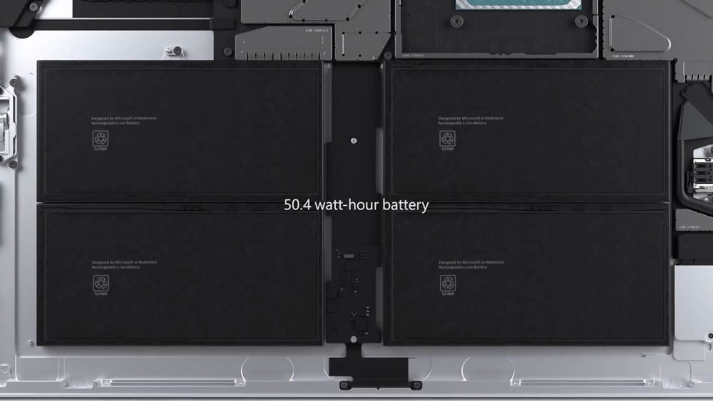 Inside the Surface Pro 7+ is an improved 50.4 watt-hour battery.