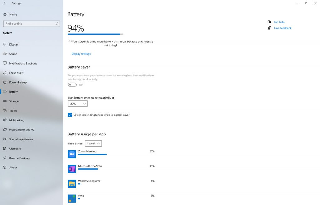 Battery settings page