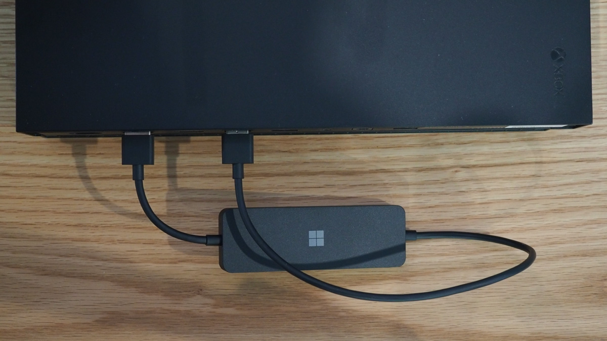 Microsoft 4K Wireless Display Adapter plugged in