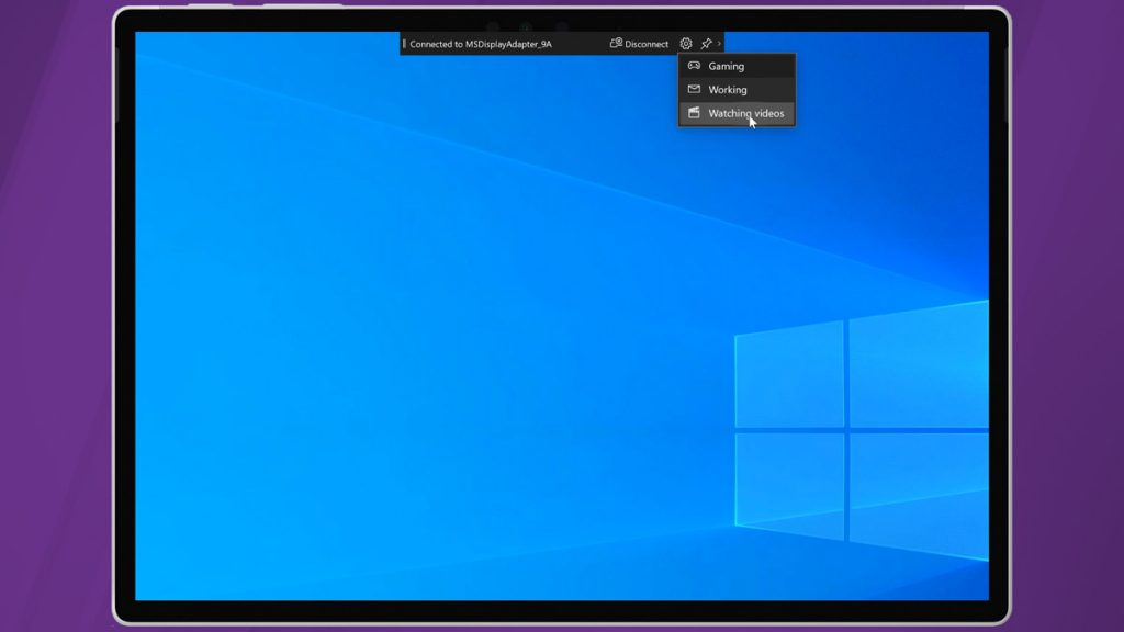 Streaming Priority on the Miracast Toolbar