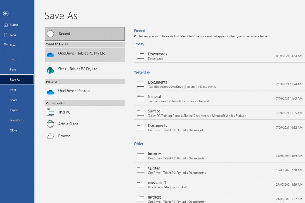 Saving a Document in OneDrive or SharePoint